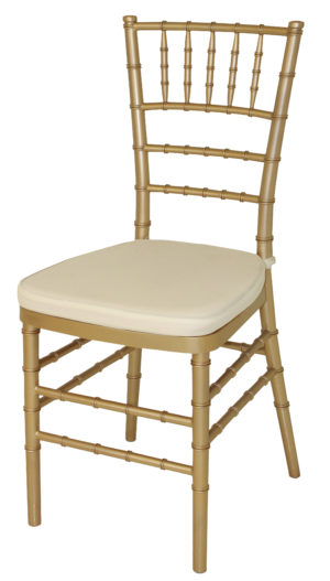 Gold Cane Chair White Pad