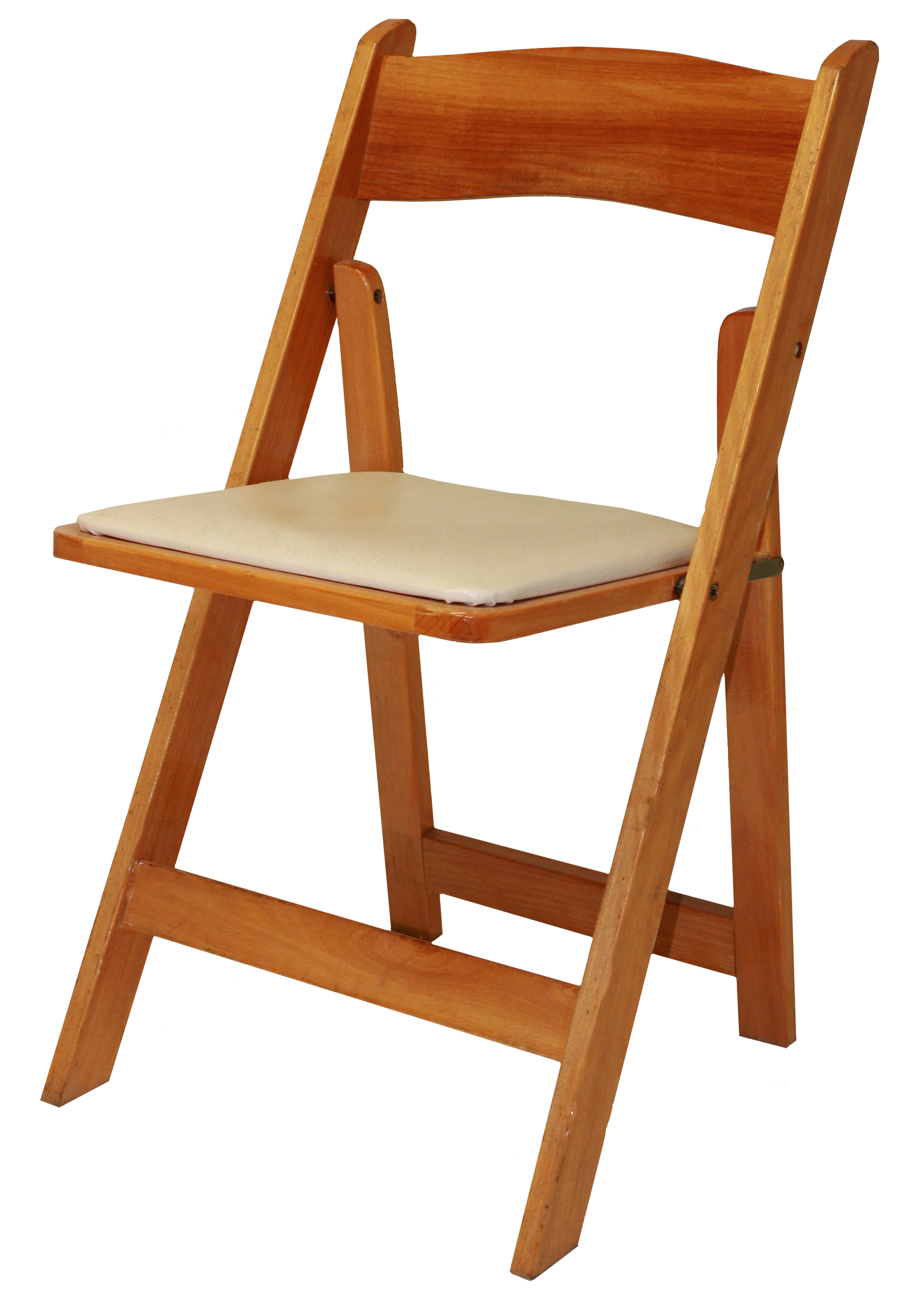 Padded Folding Resin Chairs - Natural Wood