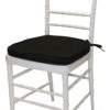 White Cane Chair Black Pad