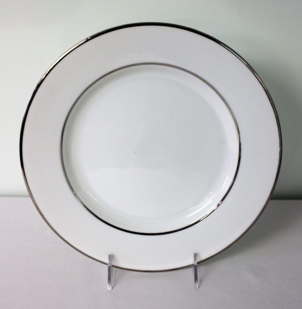 White Silver Band 10'' Dinner Plate